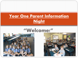 Year One Parent Information Night
