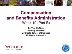 Compensation and Benefits - DeGroote School of Business