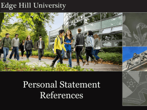 Reference Writing and Personal Statement Advice
