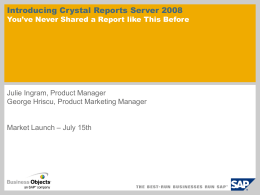 Introducing Crystal Reports Server Presentation