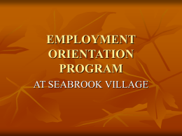 EMPLOYMENT ORIENTATION PROGRAM1