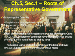 Ch.5, Sec.2 – Roots of Representative Government