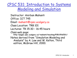 CPSC 531: Introduction to Systems Modeling and Simulation