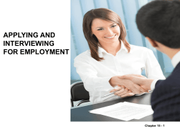Applying and Interviewing for Employment