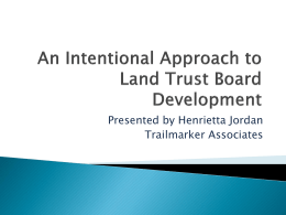An Intentional Approach to Land Trust Board Development