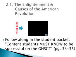 2.1 Enlightenment and Causes of the American Revolution
