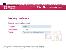 Background and context - EAL Nexus