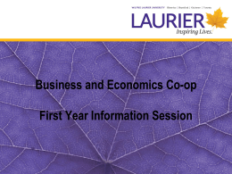 Business and Economics Co-op First Year