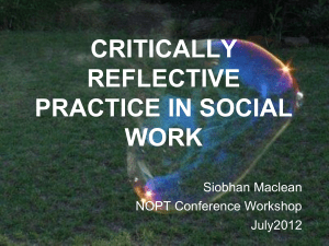 Critcally reflective practice – Siobhan MacLean