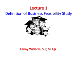 Lecture 1 Definition of Business Feasibility Study