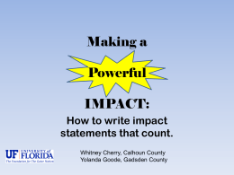 PPT on Writing Impact Statments Using Camp Evaluation Data