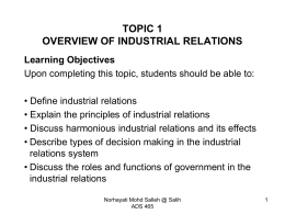 TOPIC 1 INTRODUCTION TO INDUSTRIAL RELATIONS