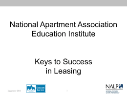 Keys to Success in Leasing - National Apartment Association