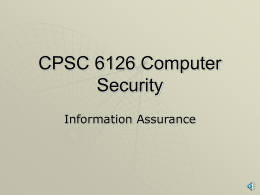 CPSC 6126 Computer Security