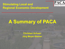 JMS_What is PACA - Local Economic Development Network of