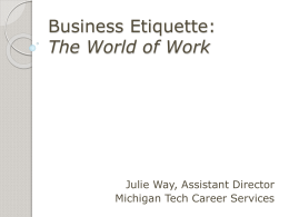 Business Etiquette: The World of Work