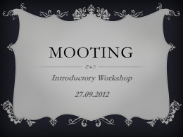 Mooting Introductory Workshop