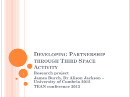 Developing partnership through Third Space activity.