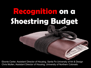 Recognition on a Shoestring Budget PowerPoint