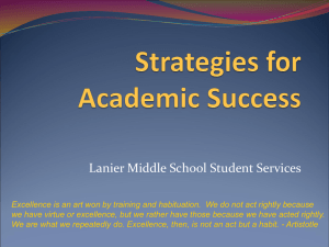 Strategies for Academic Success - Lanier Office of School Counseling