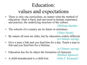 Education: values and expectations