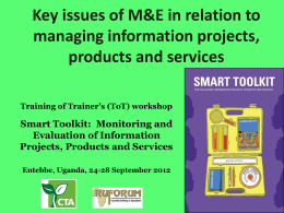 Key issues of M&E in relation to managing information projects