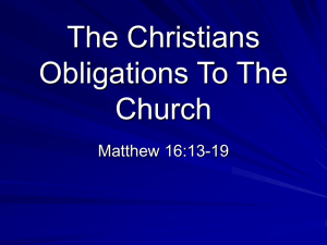 The Christians Obligations To The Church