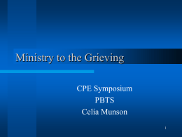 Ministry to the Grieving - Bukal Life Care & Counseling Center