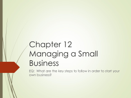 Chapter 12 Managing a Small Business