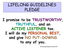 LIFELONG GUIDELINES PLEDGE