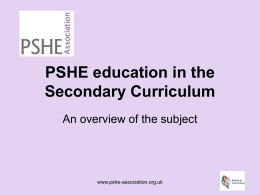 An overview of the structure of PSHE education with