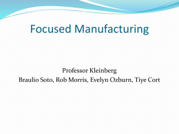 Basic Changes in Management of Manufacturing