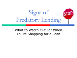 Signs of Predatory Lending - Center for Responsible Lending