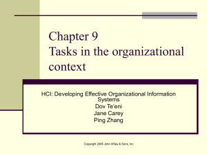 Chapter 7 Tasks in the organizational context