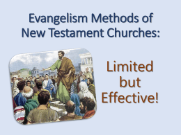 Evangelism Methods of New Testament Churches