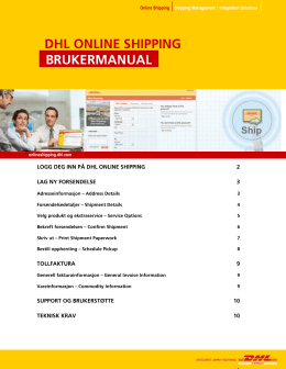 BRUKERMANUAL DHL ONLINE SHIPPING