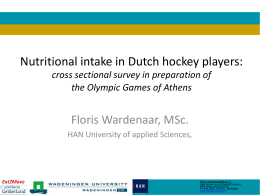 Nutritional intake of Field Hockey players FIH