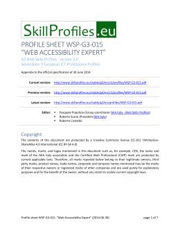 Profile sheet WSP-G3-015. Web Accessibility Expert