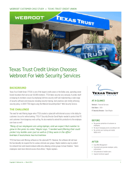 Texas Trust Credit Union Chooses Webroot For Web Security Services