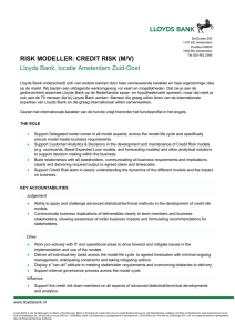 RISK MODELLER: CREDIT RISK (M/V) Lloyds Bank, locatie