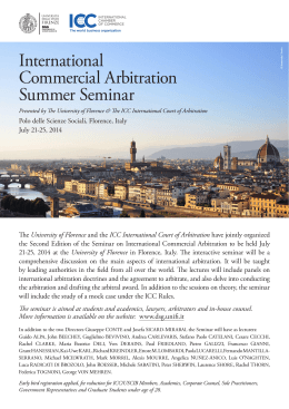 International Commercial Arbitration Summer Seminar
