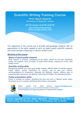 Scientific Writing Training Course