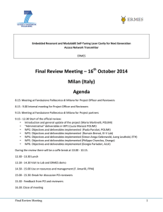Final Review Meeting – 16 October 2014 Milan (Italy