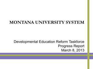 Developmental Education Reform Taskforce Progress Report March