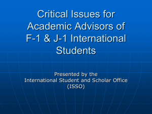 Critical Issues for Academic Advisors of F