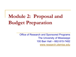 Module 2: Proposal and Budget Preparation