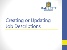 Creating or Updating Job Descriptions