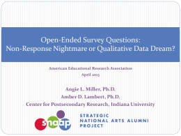 Open-Ended Survey Questions - SNAAP