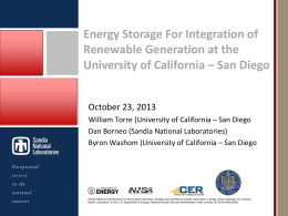 Energy Storage Applications - Resource Management & Planning