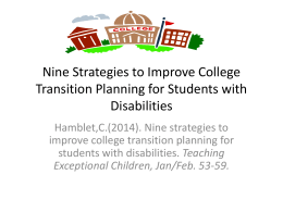Nine Strategies to Improve College Transition Planning for